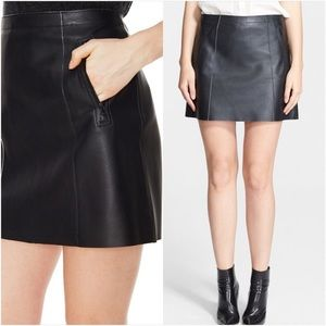 Vince Lambskin leather mini skirt pockets